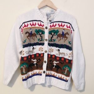 Vintage Chunky Knit Horse equestrian sweater M